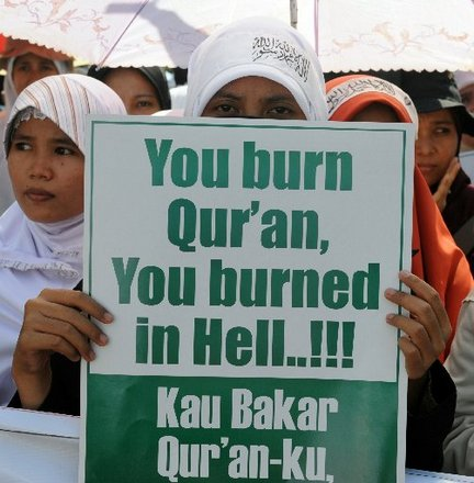 koran burning sign